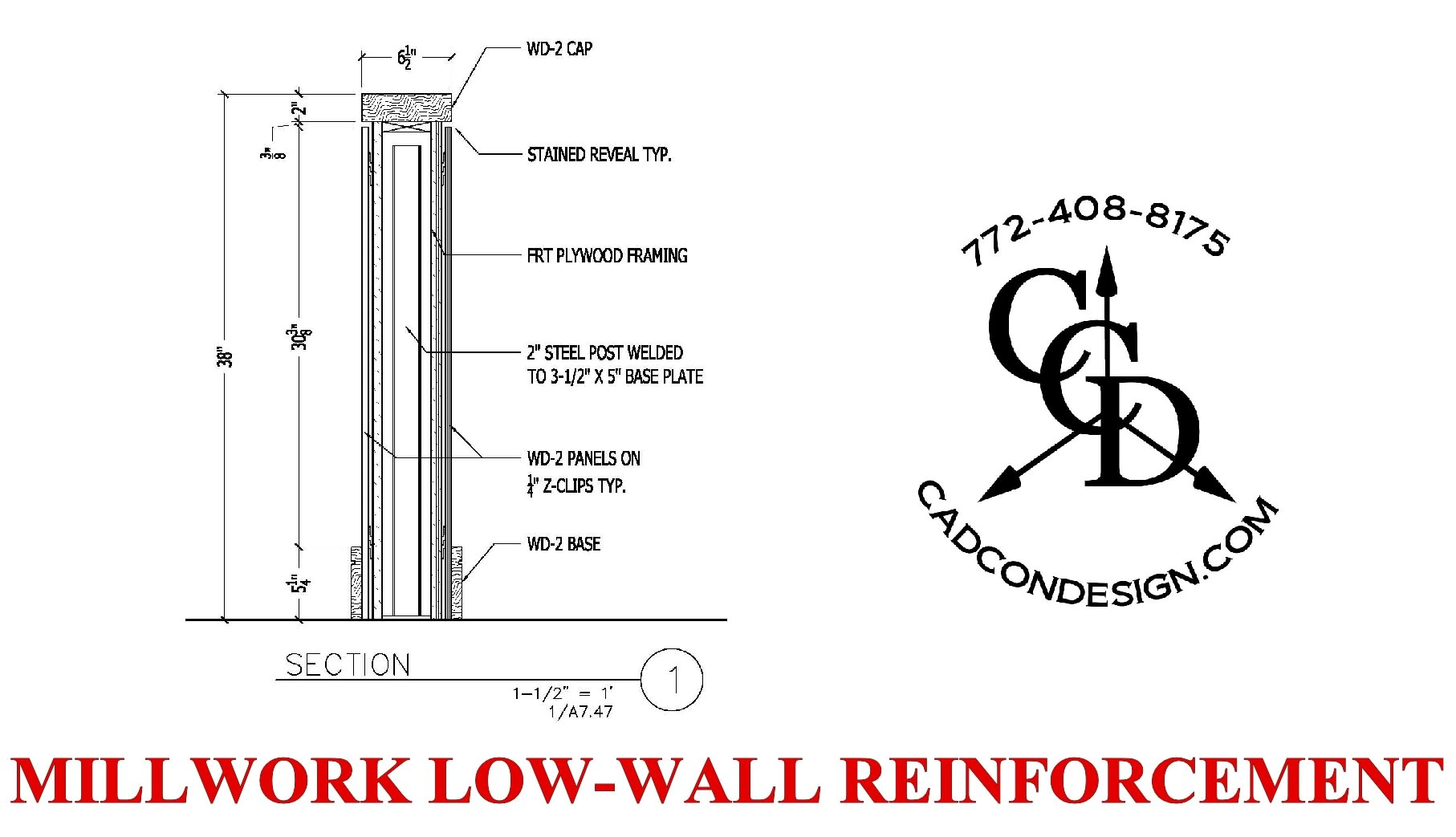 MILLWORK LOW WALL SHOP DRAWING